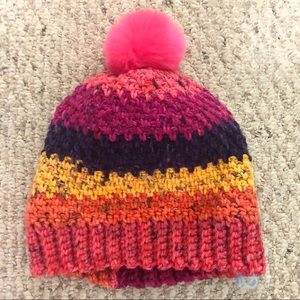 Accessories - Hand Crocheted Hat Moss Stitch Multi Color Pom Pom